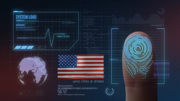 Sistema di identificazione biometrico a scansione di impronte digitali. nazionalità degli stati uniti d'america
