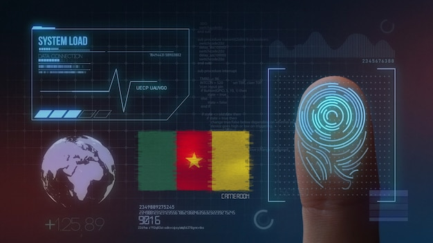 Sistema di identificazione biometrico a scansione di impronte digitali. nazionalità del camerun