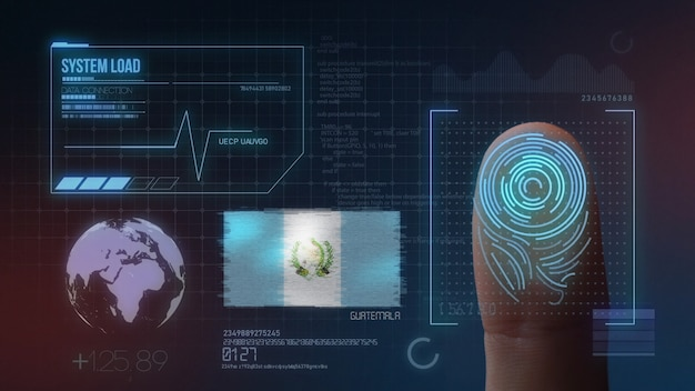 Sistema di identificazione biometrico a scansione di impronte digitali. nazionalità del guatemala