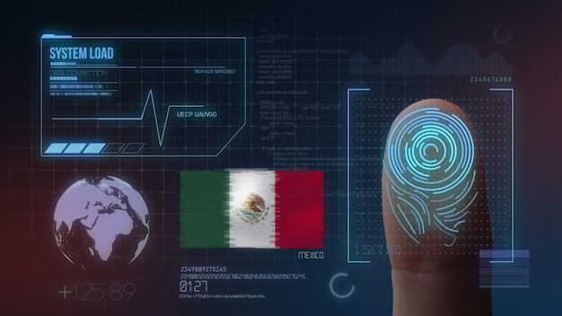 Sistema di identificazione biometrico a scansione di impronte digitali. nazionalità del messico