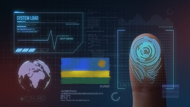 Sistema di identificazione biometrico a scansione di impronte digitali. nazionalità del ruanda