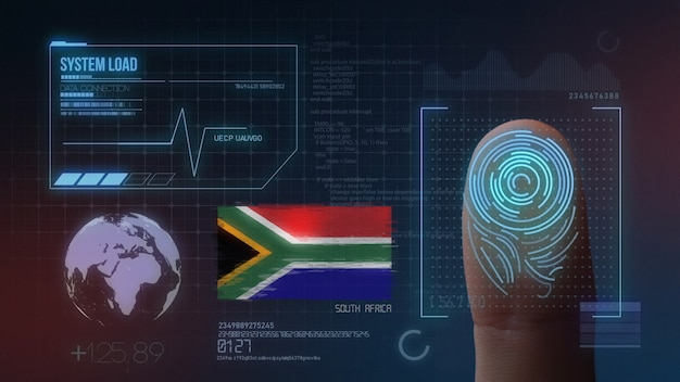 Sistema di identificazione biometrico a scansione di impronte digitali. nazionalità del sud africa