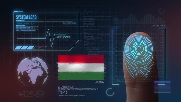 Sistema di identificazione biometrico a scansione di impronte digitali. nazionalità dell'ungheria