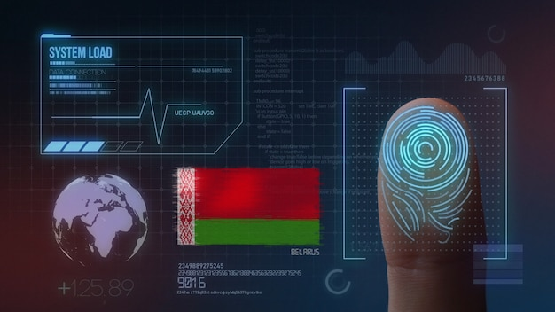 Sistema di identificazione biometrico a scansione di impronte digitali. nazionalità della bielorussia