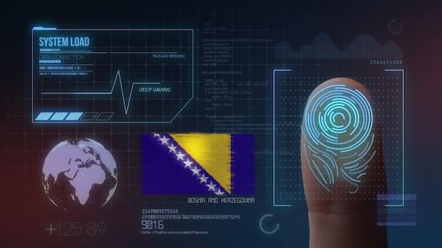 Sistema di identificazione biometrico a scansione di impronte digitali. nazionalità della bosnia ed erzegovina