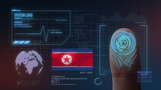 Sistema di identificazione biometrico a scansione di impronte digitali. nazionalità della corea del nord