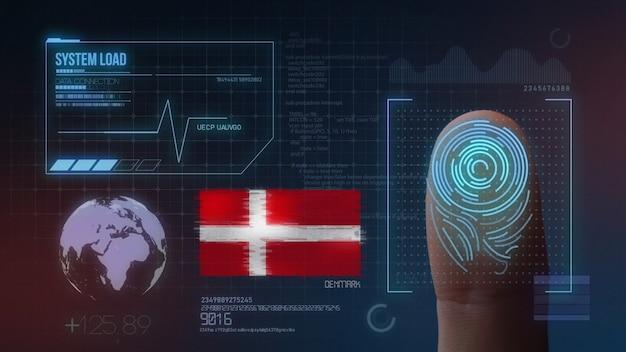 Sistema di identificazione biometrico a scansione di impronte digitali. nazionalità della danimarca
