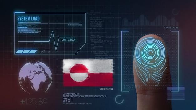Sistema di identificazione biometrico a scansione di impronte digitali. nazionalità della groenlandia