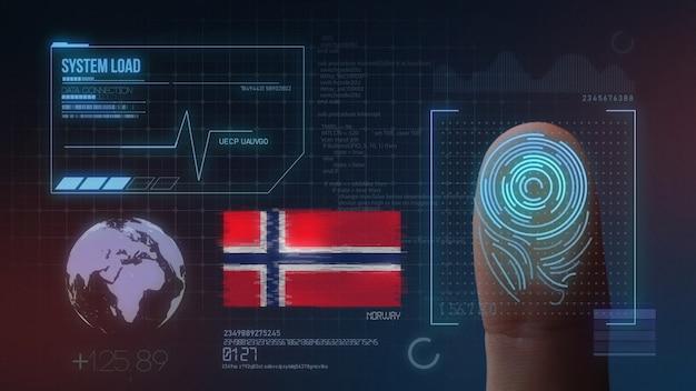 Sistema di identificazione biometrico a scansione di impronte digitali. nazionalità della norvegia