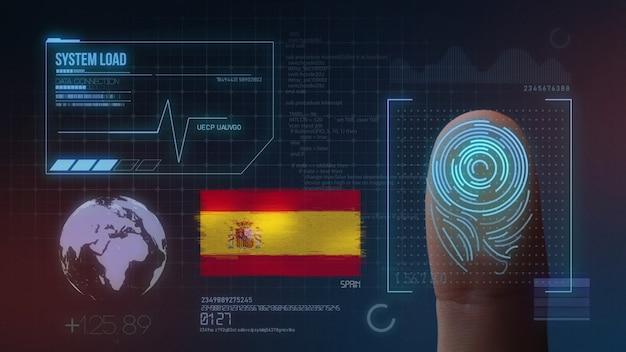 Sistema di identificazione biometrico a scansione di impronte digitali. nazionalità della spagna