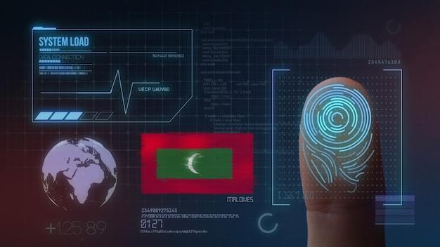 Sistema di identificazione biometrico a scansione di impronte digitali. nazionalità delle maldive
