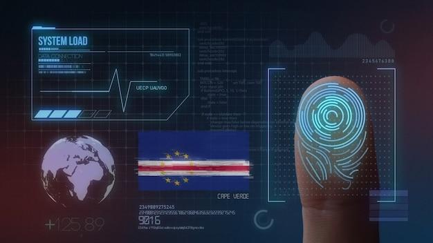 Sistema di identificazione biometrico a scansione di impronte digitali. nazionalità di capo verde