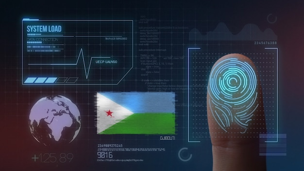 Sistema di identificazione biometrico a scansione di impronte digitali. nazionalità di gibuti