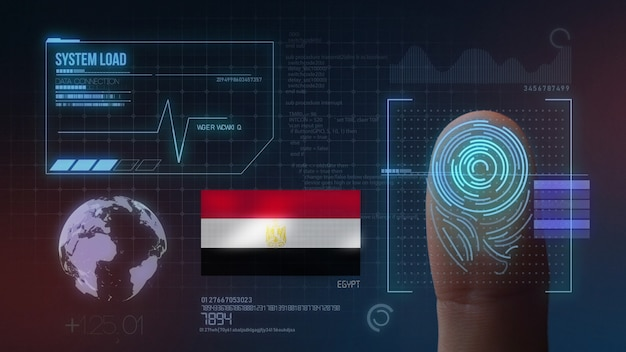 Sistema di identificazione biometrico a scansione di impronte digitali. nazionalità egiziana