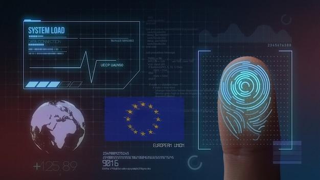 Sistema di identificazione biometrico a scansione di impronte digitali. nazionalità europea