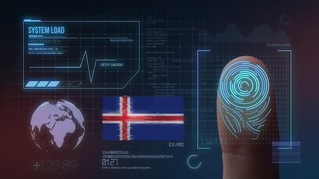 Sistema di identificazione biometrico a scansione di impronte digitali. nazionalità islandese