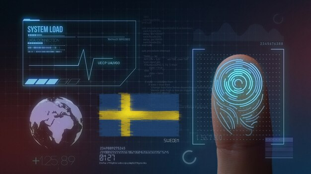Sistema di identificazione biometrico a scansione di impronte digitali. nazionalità svedese