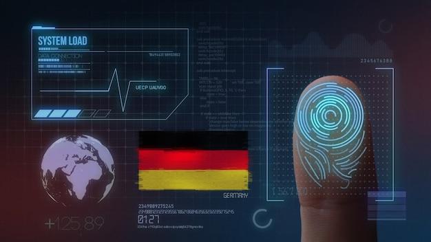 Sistema di identificazione biometrico a scansione di impronte digitali. nazionalità tedesca