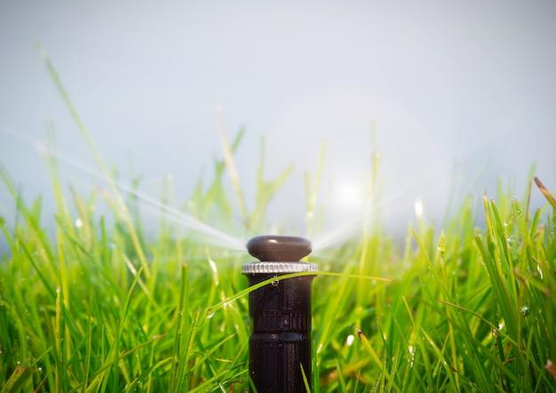 Sistema di irrigazione automatico che innaffia il prato
