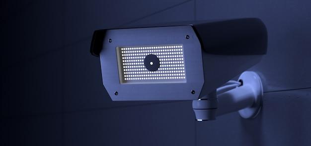 Sistema di telecamere cctv di sicurezza, rendering 3d