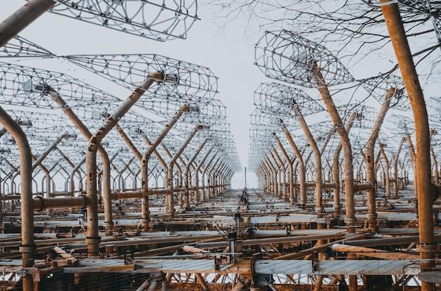 Sistema radar oth nell'orizzonte sovietico di chernobyl della difesa missilistica. chernobyl, pripyat