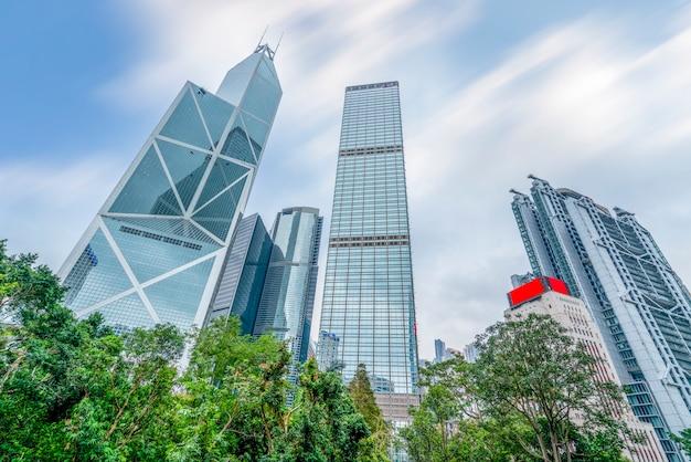 Skyline della città di hong kong e paesaggio architettonico