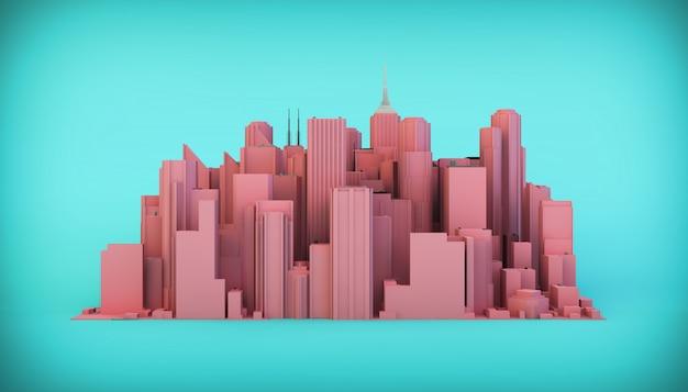Skyline della città su sfondo blu