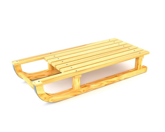 Slitta di legno isolata su fondo bianco. illustrazione 3d
