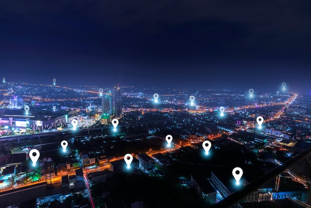 Smart city con rete di comunicazione checkpoint