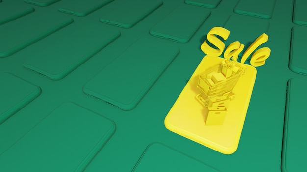 Smart phone 3d mock up. smart phone cg. yelow smart phone su green background.3d rendering,