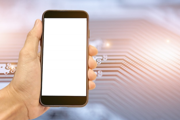 Smart phone mobile della tenuta della mano sul fondo del circuito del pwb comunicazione di tecnologia
