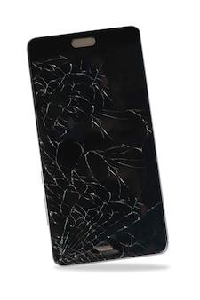 Smart phone moderno mobile del touch screen con lo schermo rotto su fondo bianco. - contiene il tracciato di ritaglio
