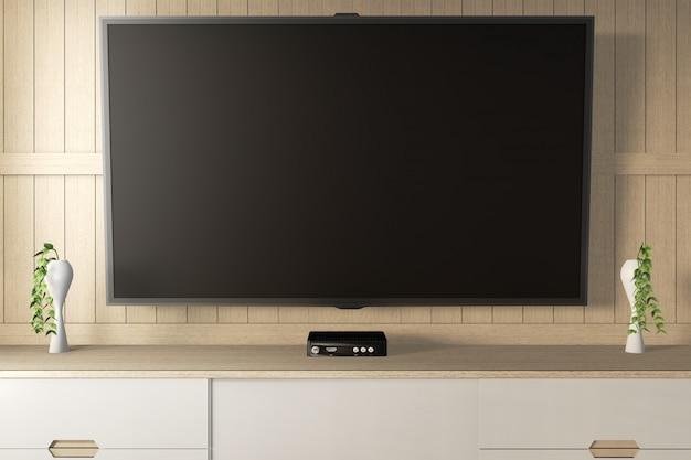 Smart tv con schermo nero bianco appeso al mobile. rendering 3d