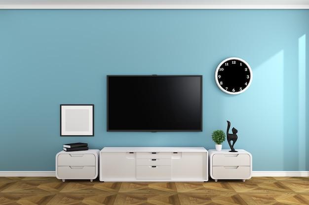 Smart tv nel design della sala stile vuoto. 3d redinging