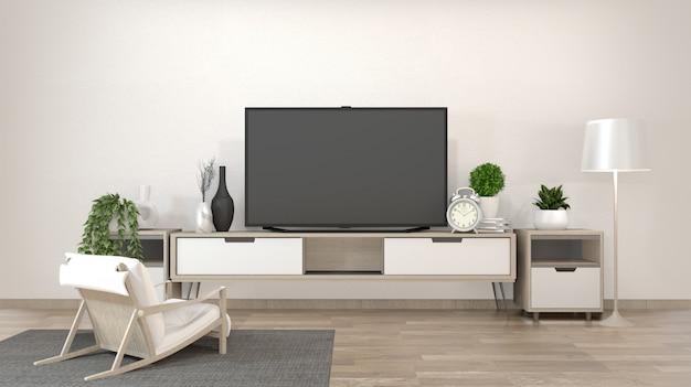 Smart tv sul soggiorno zen con uno stile minimale di decorazione. rendering 3d