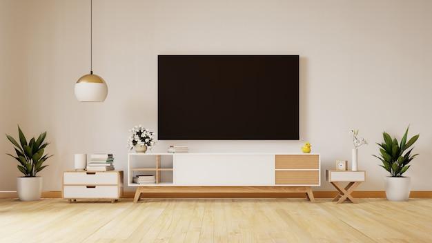 Smart tv sulla parete bianca in salone, progettazione minima, rappresentazione 3d