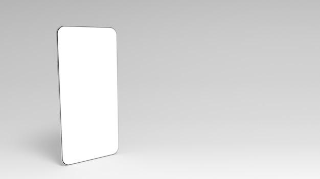 Smartphone 3d con schermo bianco vuoto