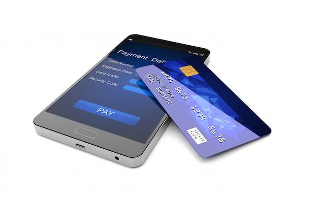 Smartphone con la rappresentazione della carta di credito 3d