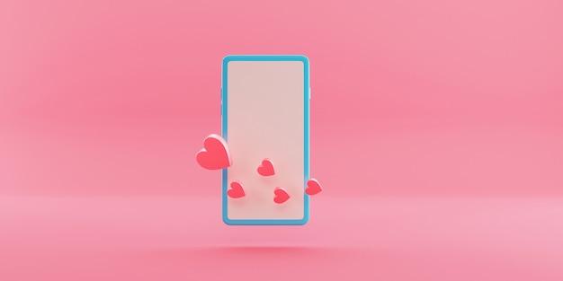 Smartphone minimale con il simbolo del cuore sul display. rendering 3d.