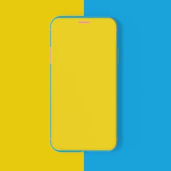 Smartphone mockup di colore giallo e blu