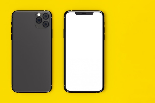 Smartphone moderno fronte e retro con schermo bianco.