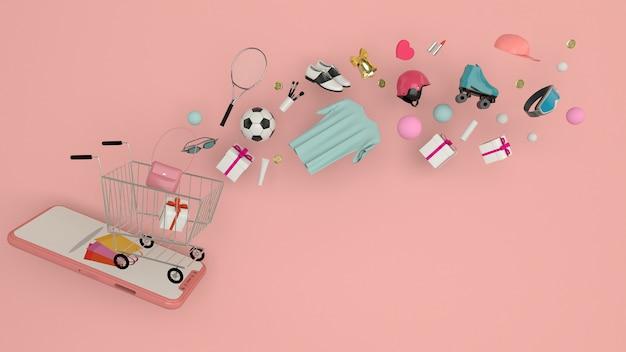 Smartphone per inserire il contenuto circondato da borse della spesa, carrelli della spesa, rendering 3d