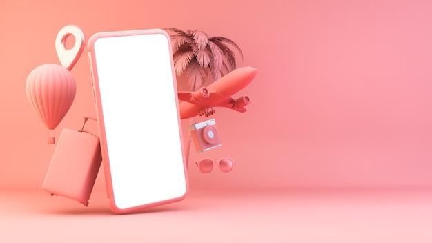 Smartphone rosa con oggetti da viaggio