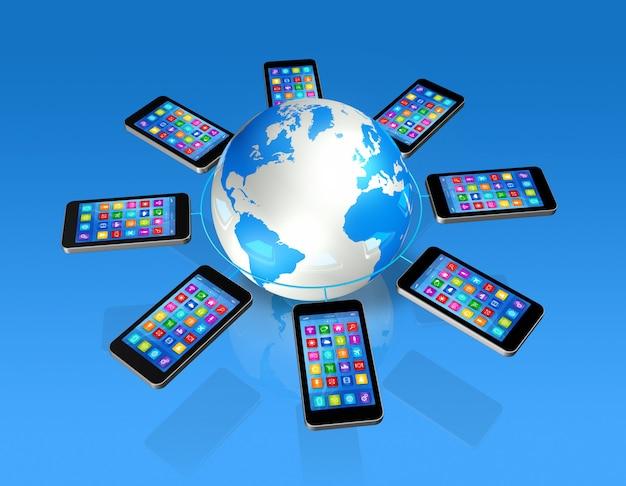 Smartphones around world globe, comunicazione globale