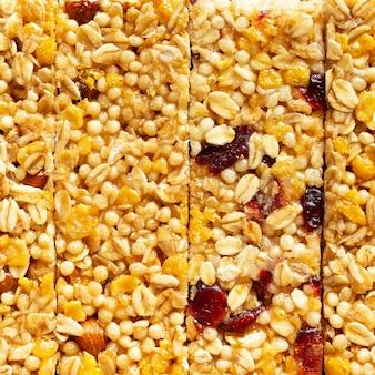 Snack fruttati vista dall'alto