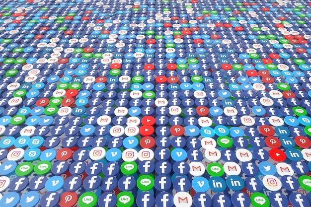 Social media app random wall 3d