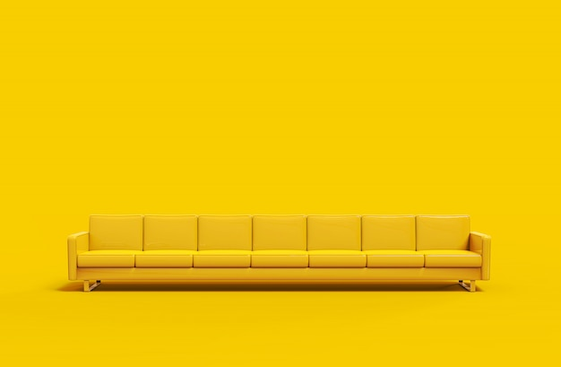 Sofà di cuoio giallo estremamente lungo isolato su fondo giallo. rendering 3d