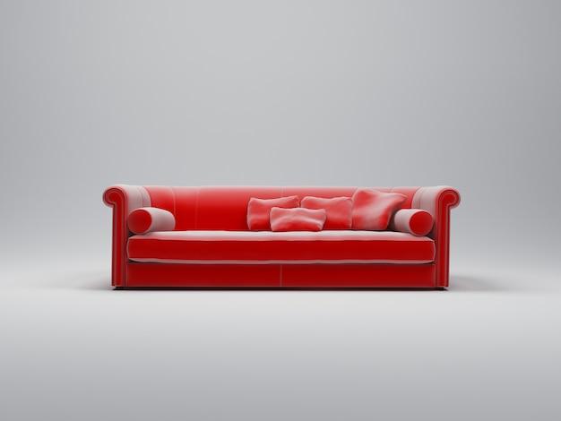 Sofà di lusso del velluto rosso su fondo bianco