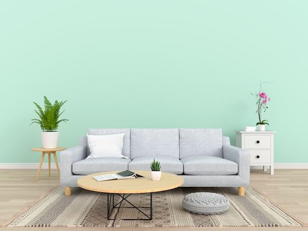 Sofà grigio in salone, rappresentazione 3d