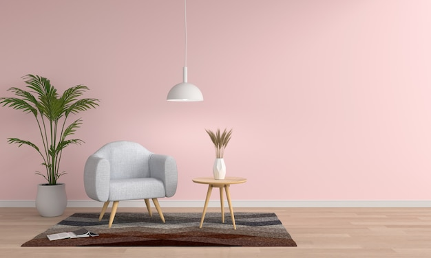 Sofà grigio in salone rosa, rappresentazione 3d